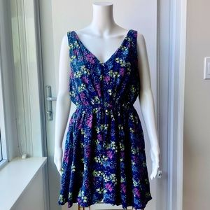 JUICY COUTURE Navy Silk Floral Dress